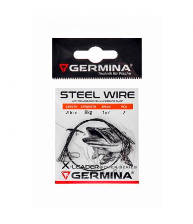 Pavadėliai Germina Steel Wire X-Leader 20/25/30cm