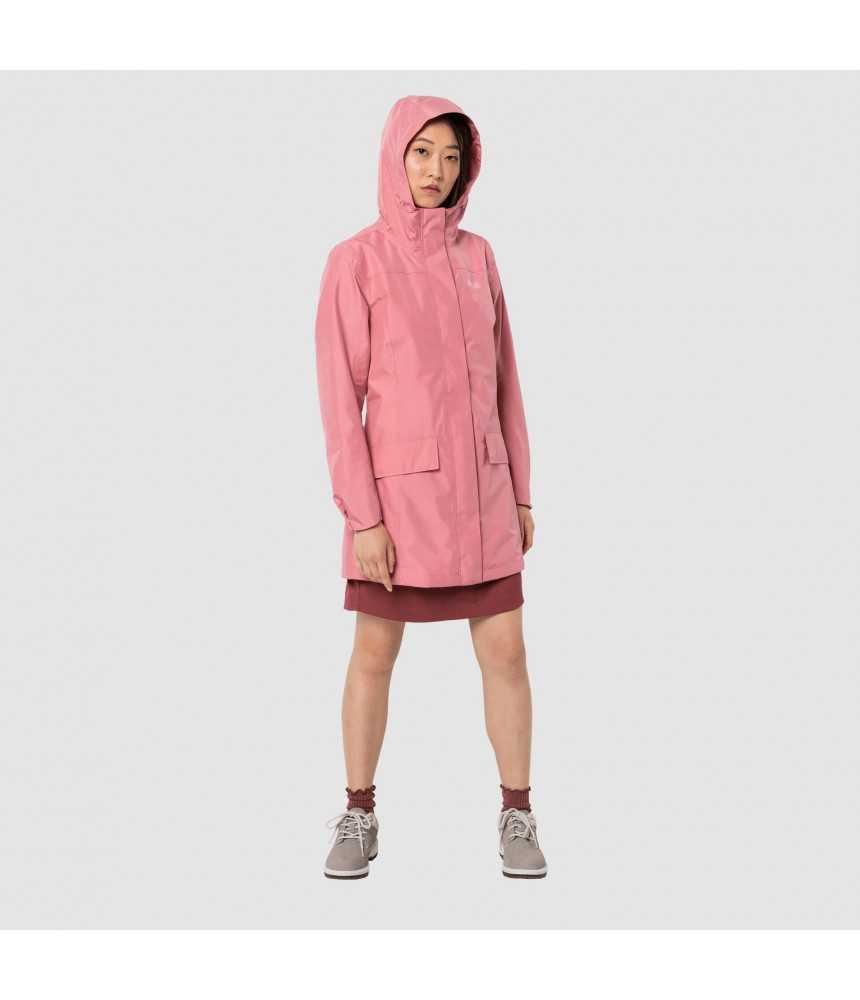 Moteriškas lietpaltis JACK WOLFSKIN CAPE YORK COAT | rožinis