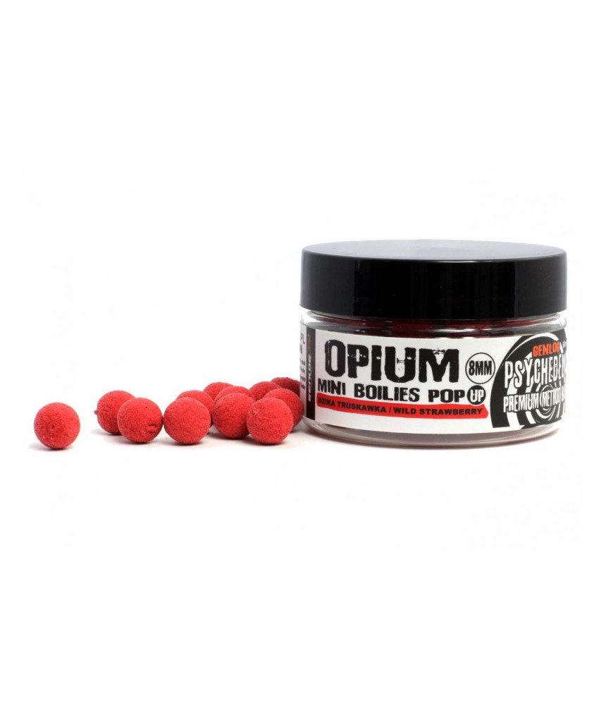 Boiliai GENLOG OPIUM Mini Pop-Up braškė 8mm / 25G