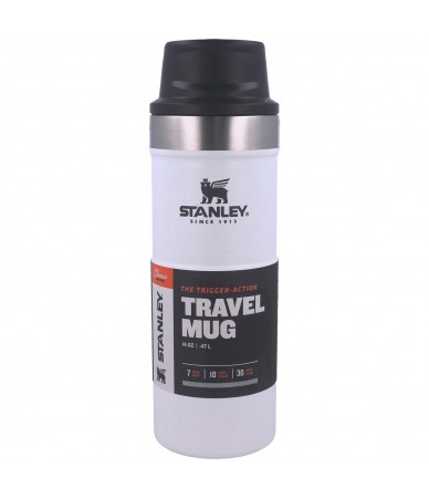 Termopuodelis Stanley Classic Trigger-Action Travel Mug 0.47L baltas