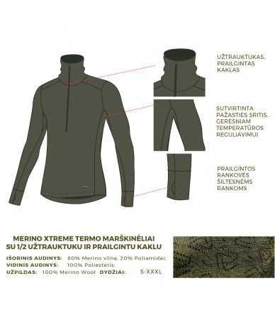 Termo marškinėliai su 1/2 užtrauktuku vyrams Thermowave MERINO XTREME