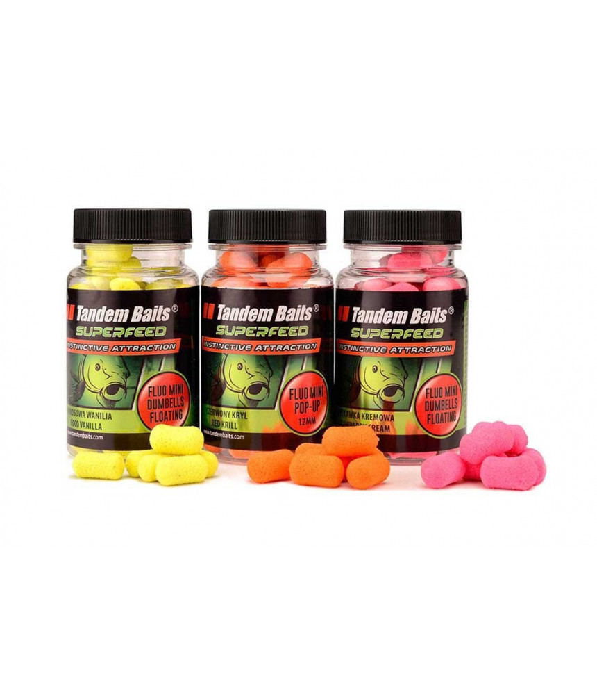 Tandem Baits peletės Mini Fluo Dumbells floating 30g